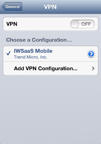 Go to Settings > VPN > IWSaaS Mobile