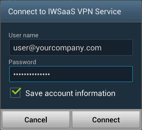 Enter your IWSaaS account username and password