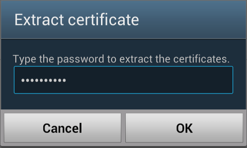 Type the password to extract the certificate
