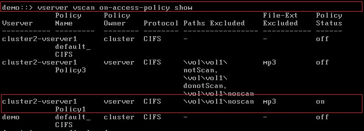 show on-access-policy