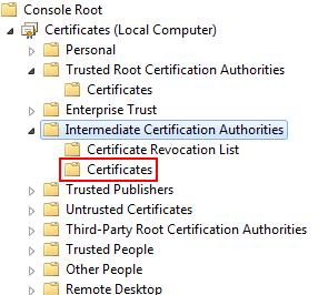 Intermediate Certification Authorities