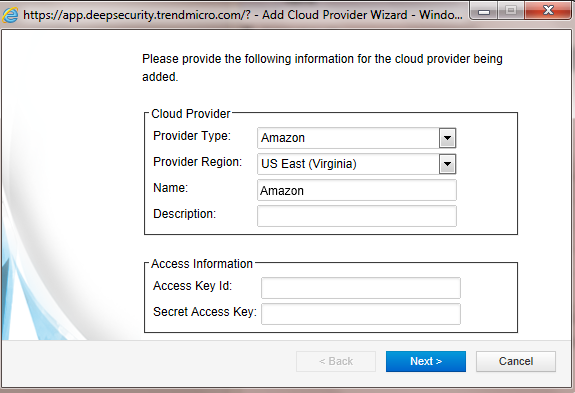 Add Cloud Provider Wizard