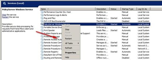 Restart Policy Server Windows services