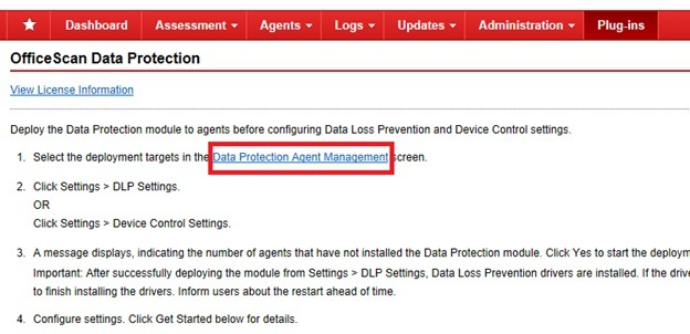 Data protection agent management link