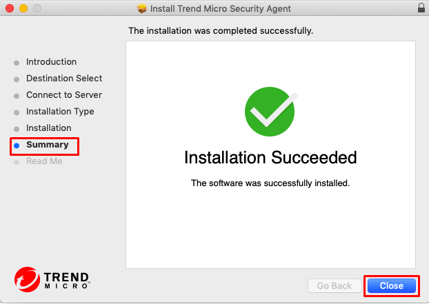 Installation is successful message