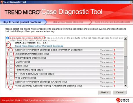 Select the products installed - Case Diagnostic Tool