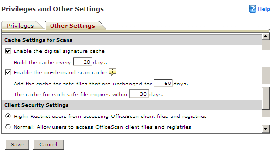 Privileges and Other Settings