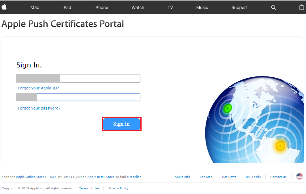 Go to Apple Push Certificates Portal