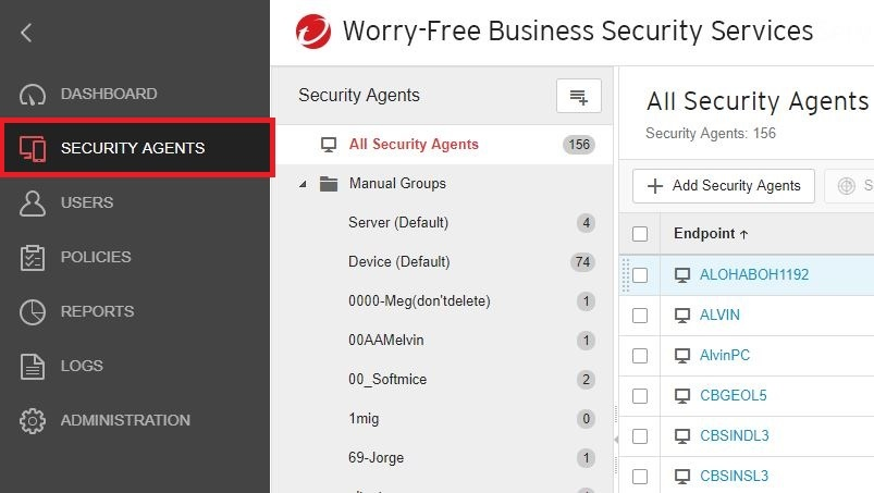 Security Agents tab