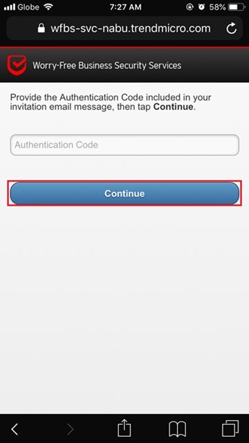 Enter the Authentication code
