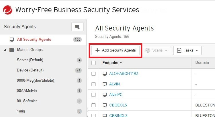 Click Add Security Agents