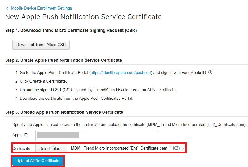 Upload APNS Certificate
