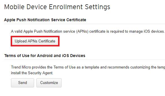 Click Upload APNs Certificate