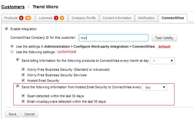 Spam/spyware statistics settings
