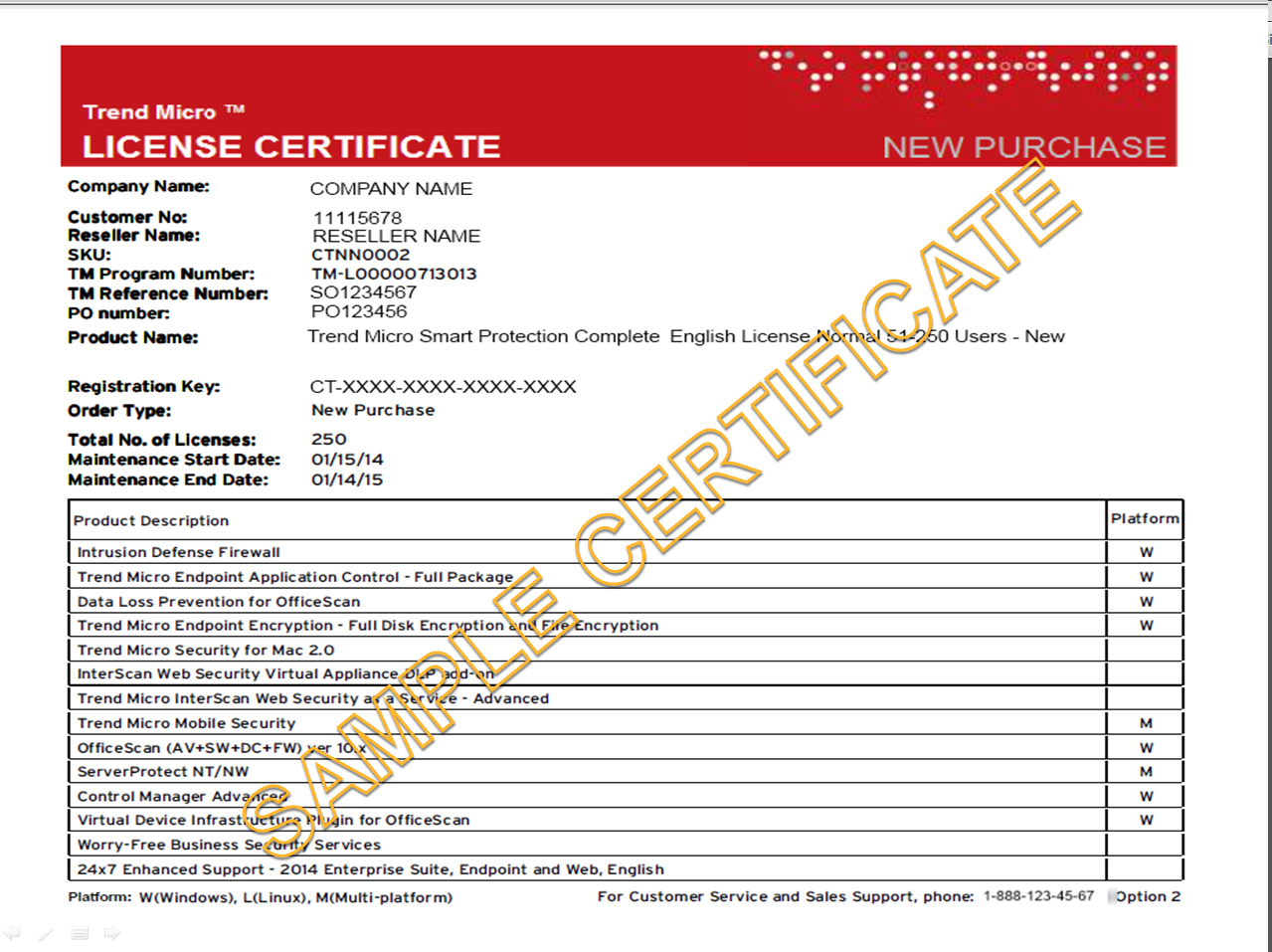 Sample license certificate