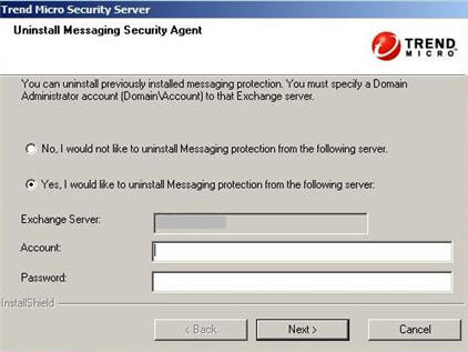 Uninstall Messaging Security Agent