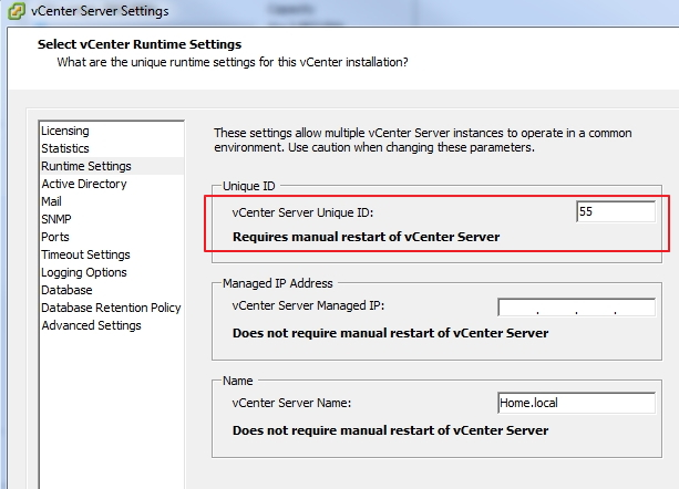 vCenter Server Unique ID on vSphere Client