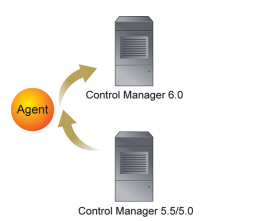 Migration of agents belonging to a single server