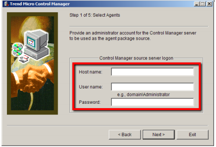 Control manager source server logon