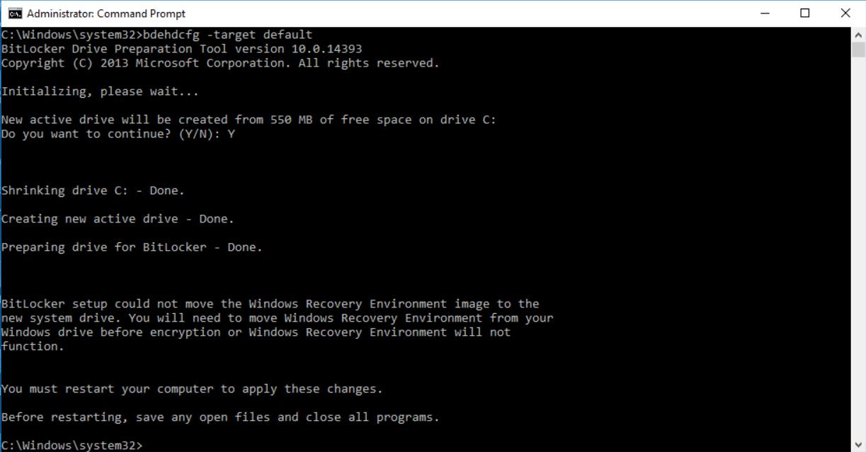 Run command to create a new system reserved partition in system disk