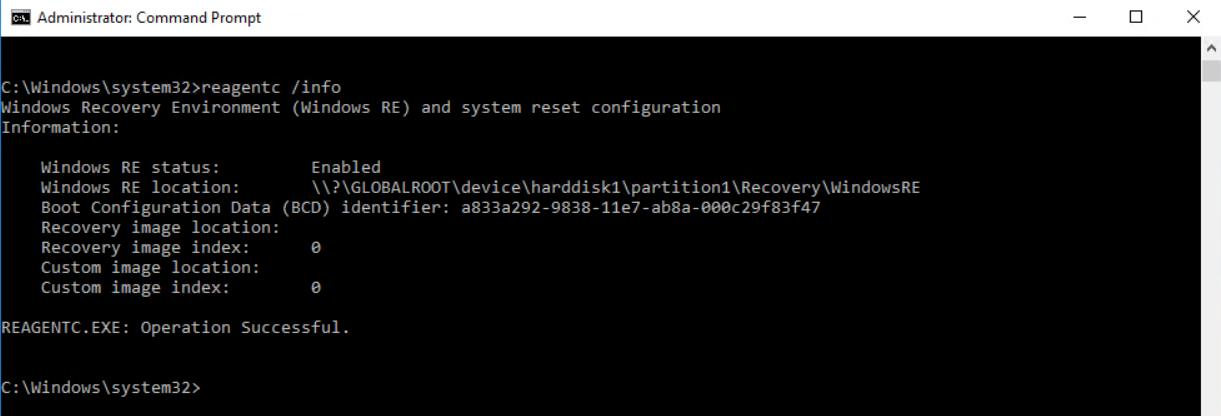 Run command to query Windows Recovery Environment information