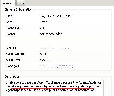 Unable to activate the Agent/Appliance because the Agent/Appliance has already been activated by another Deep Security Manager.