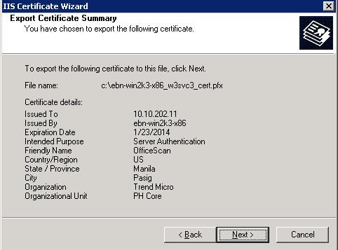 Export Certificate Summary