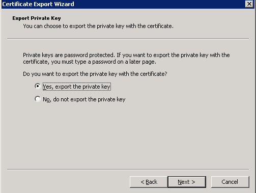 Select Yes, export the private key and click Next