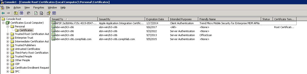 Select Certificates > Personal > Certificates