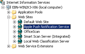 Right-click Apple Push Notification Service