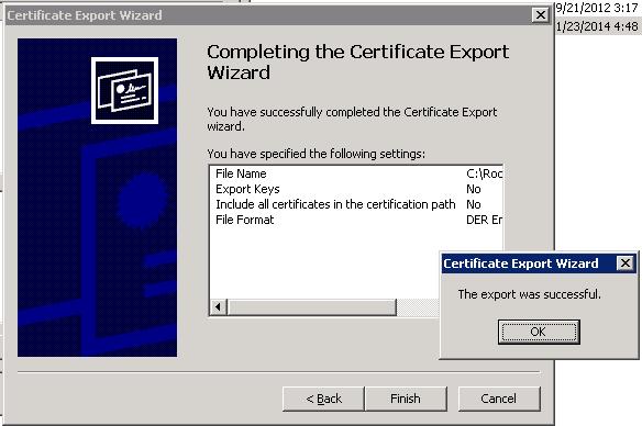 Certificate Export has been completed.