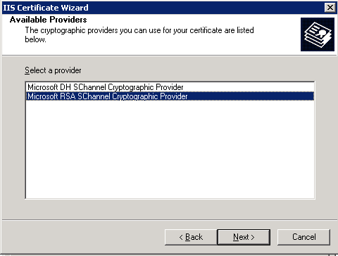 Select Microsoft RSA SChannel Cryptographic Provider