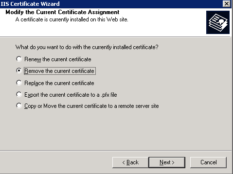 Remove the current certificate