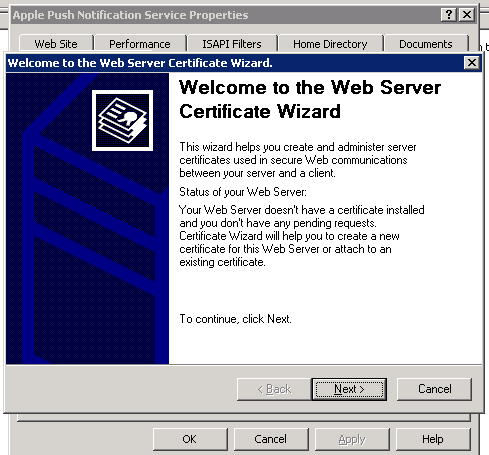 The Web Server Certificate Wizard starts