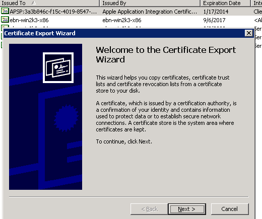 The Certificate Export Wizard starts