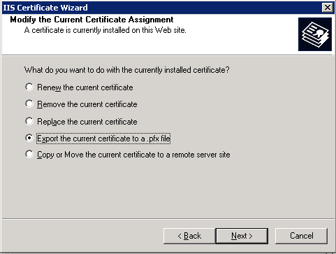 Click Export the current certificate to a .pfx file.