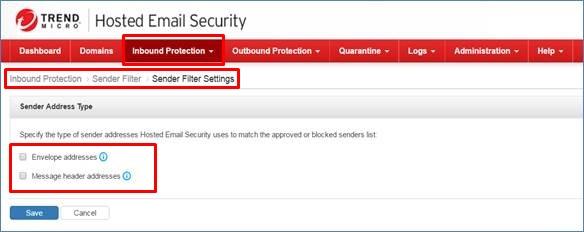 Sender Filter Settings