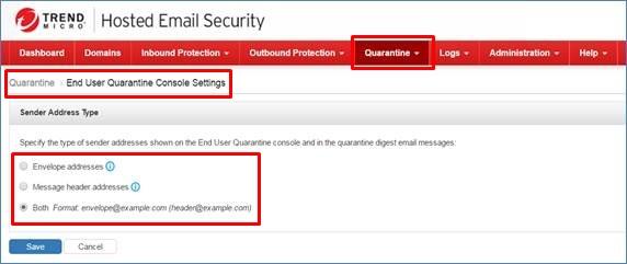 End User Quarantine Console Settings