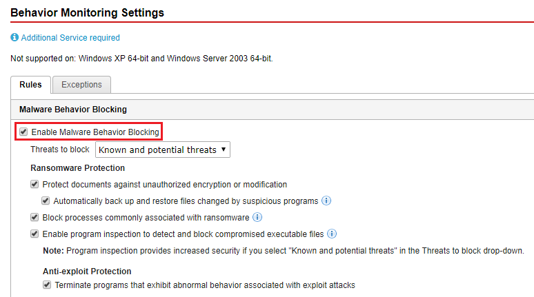Enable Malware Behavior Blocking