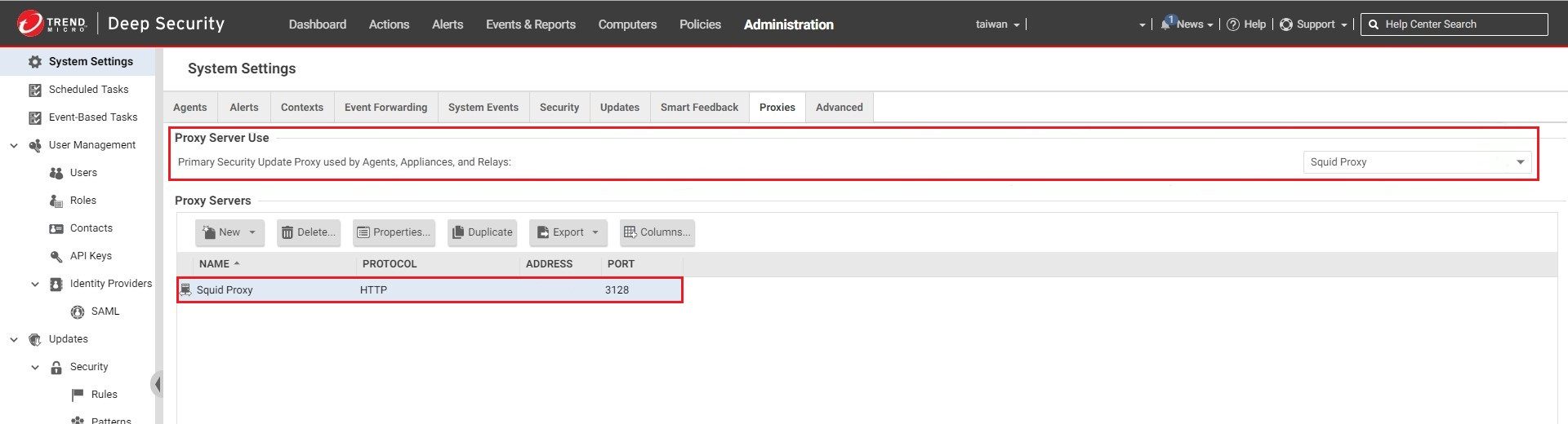 Register the Squid Proxy in Deep Security as a Service Manager