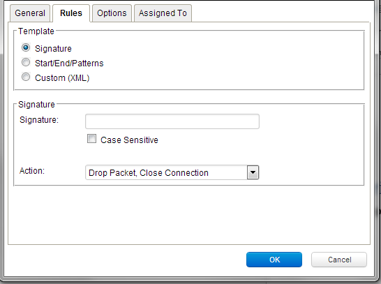 Custom DPI rule - Simple signature