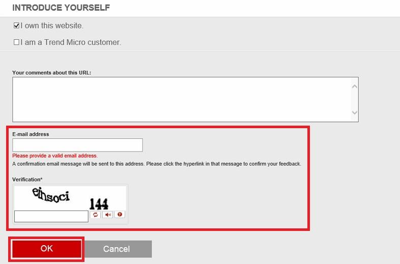 Enter Email Address and verify