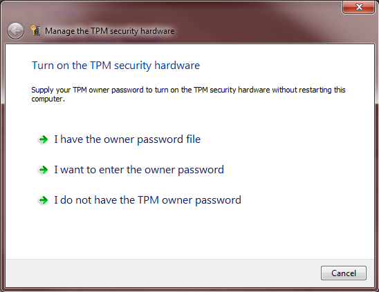 Supply TPM owner password
