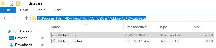 delete dbClientInfo file