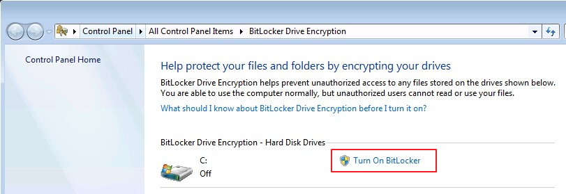 Make sure BitLocker is off