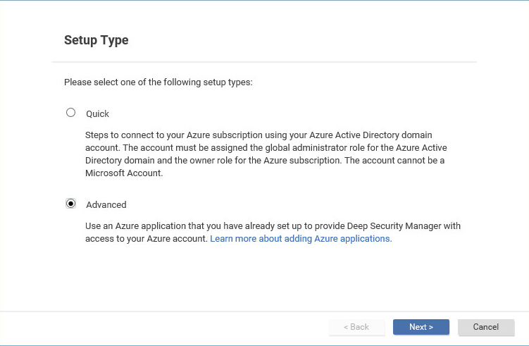 Add Azure using Advanced Mode