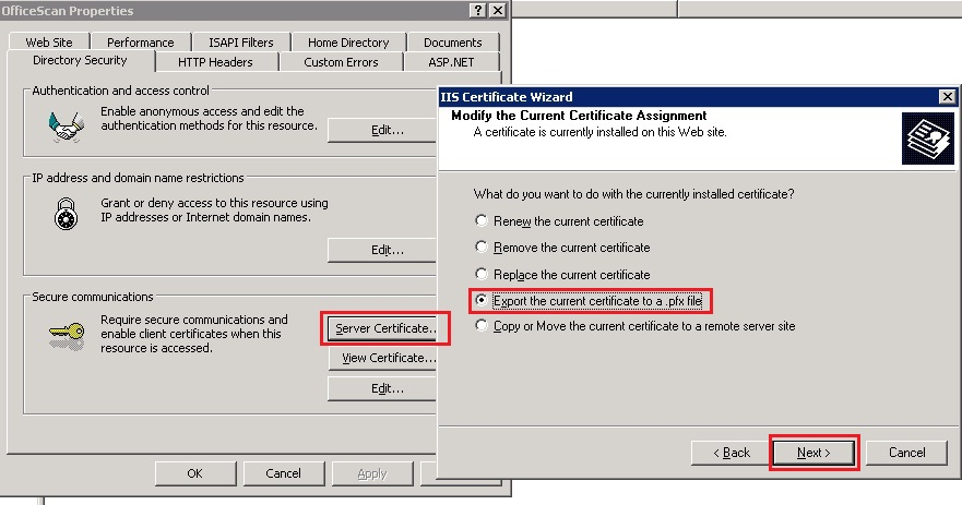 IIS certificate wizard