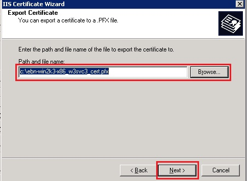 export certificate path and filename