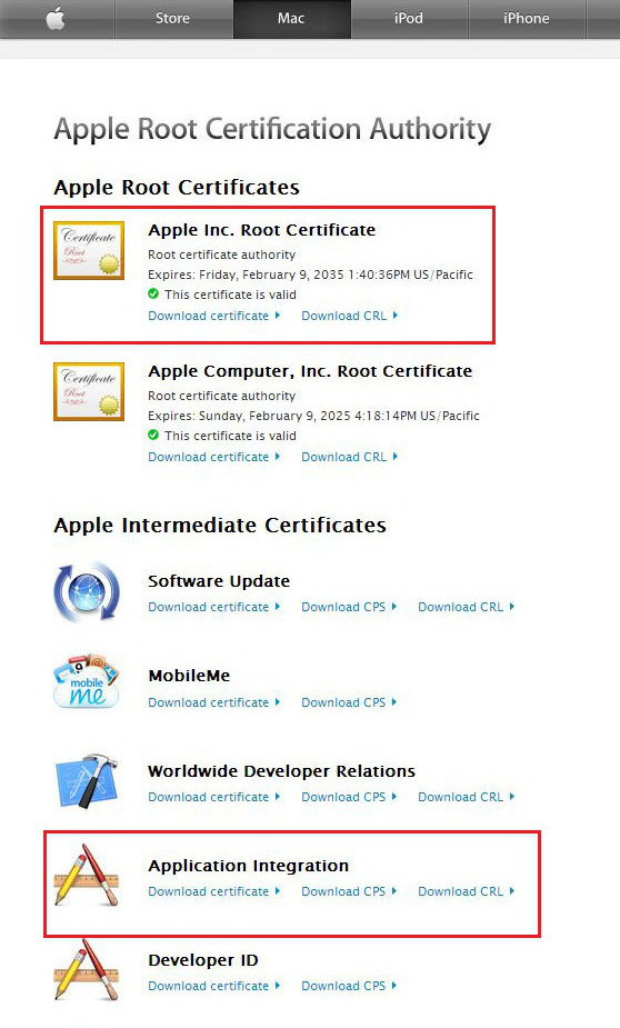 apple root certificate and application integration certificate