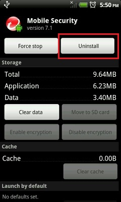 uninstall mobile security